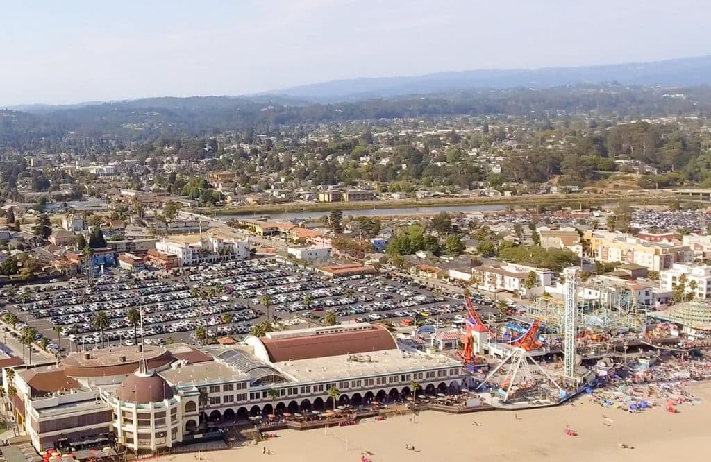 Santa Cruz, California. Beautiful aerial coastline.